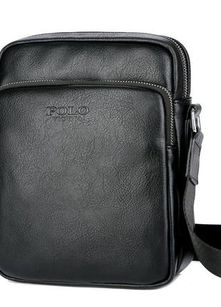 Мужская сумка мессенджер, барсетка через плечо v8850 черная