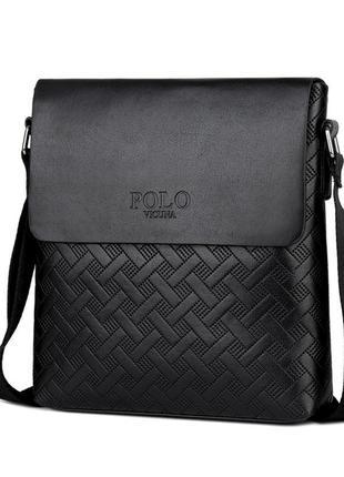 Мужская сумка мессенджер, барсетка через плечо v8853 черная