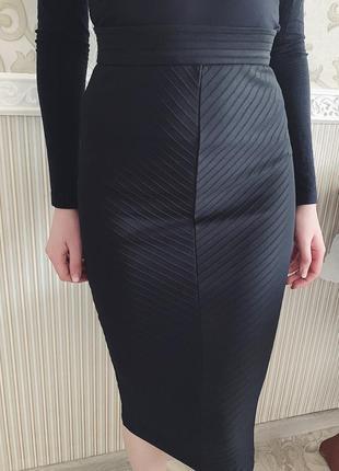 Чёрная бандажная юбка2 фото