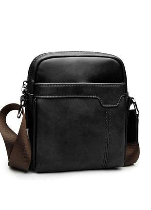 Мужская сумка мессенджер, барсетка через плечо v9839 черная