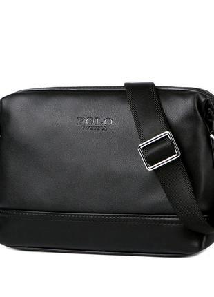 Мужская сумка мессенджер, барсетка через плечо v8845 черная
