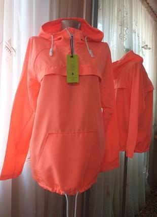 Яркий неоновый анорак дождевик куртка ветровка f&f active