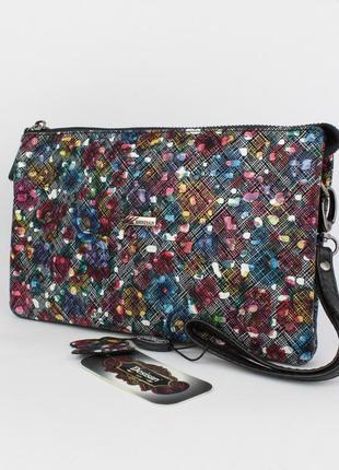 Кожаный клатч, сумочка desisan 070 разноцветная, расцветки