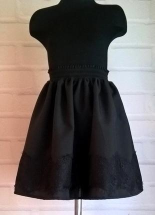 Черная юбка с широким кружевом. школьная юбка. юбка для девочки. 122-140 размеры