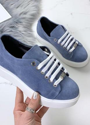 Натуральный замш люксовые кроссовки небесно-голубого цвета