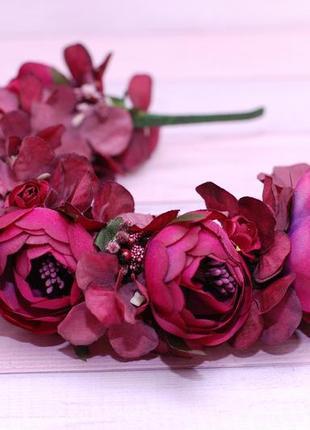 Обруч ободок с пионами и гортензией цвета марсала