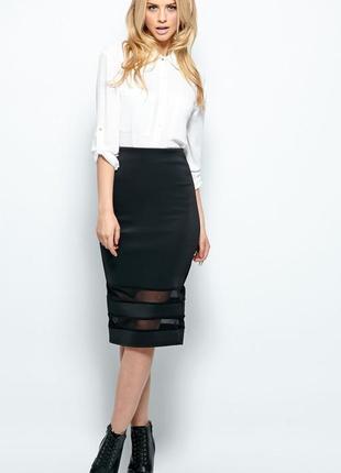 Стильная юбка карандаш h&m с вкладками р. s / m
