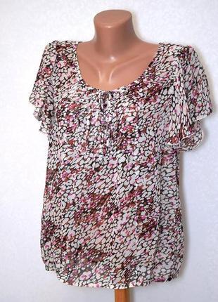Шифоновая блуза с воланами petite , л