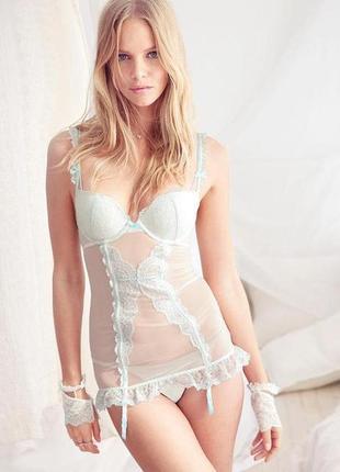 Victoria's secret подарок белье невесты свадебный пеньюар оригинал кружевной комплект