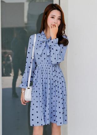 Красивое голубое платье в горох. на рост до 165
