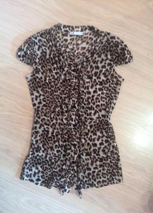 Блуза oodji c леопардовым принтом