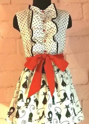 Платье для девочки. платье детское. принт коты и горошек. 100% хлопок.  рр. 110-128