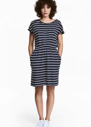 Оригинальное короткое трикотажное платье от бренда h&m разм. м