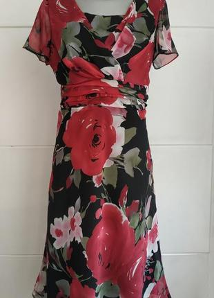 Стильное платье миди amanda marshal с принтом крупных цветов