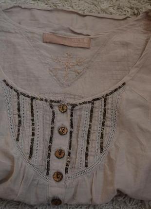 Летняя блузка с длинным рукавом, рубаха, пайетки, вышивка