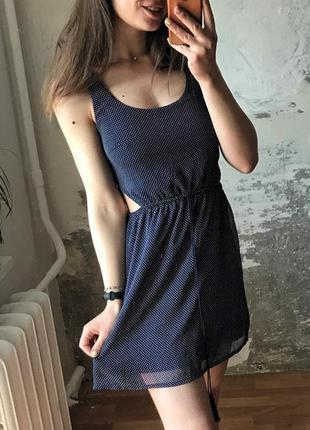 Шикарное маленькое платье / сарафан в горошек с вырезами по бокам
