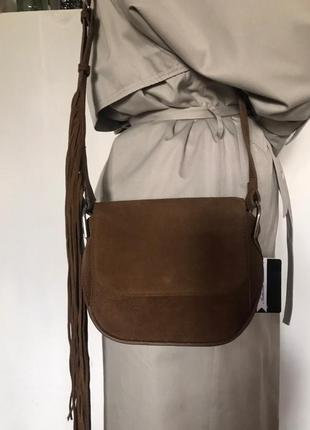 Кожаная сумка с бахромой mango3 фото