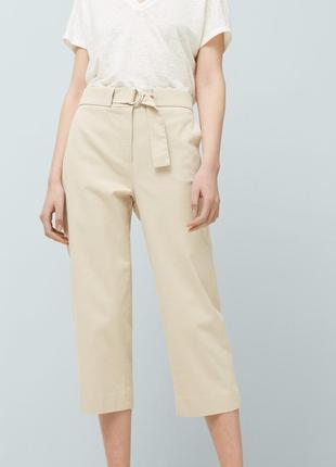 Бежевые молочные брюки из мягкой ткани mango m