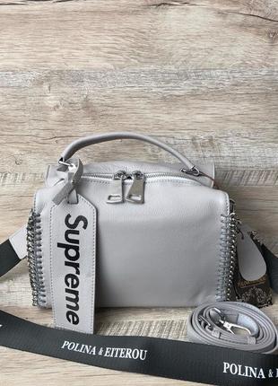 Женская кожаная серая сумка топ продаж