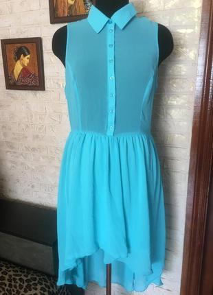 Шифоновое платье, юбка на подкладке