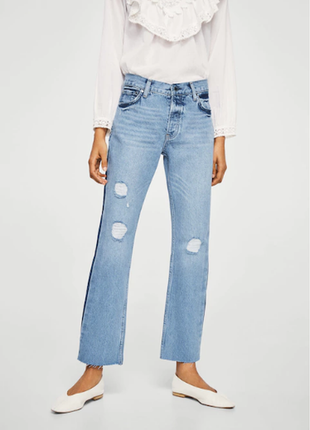 Обнова! джинсы прямые на высокой талии 7/8 укороченные дистресс качество бренд mango