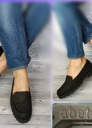 37-38р замша,кожа!новые италия abetone,черные туфли лоферы,мокасины