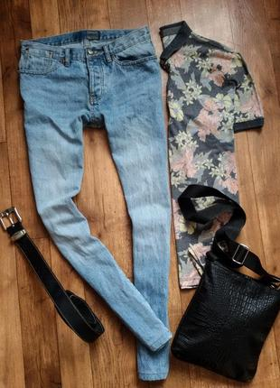 Мужские светлые синие голубые джинсы варенки versace