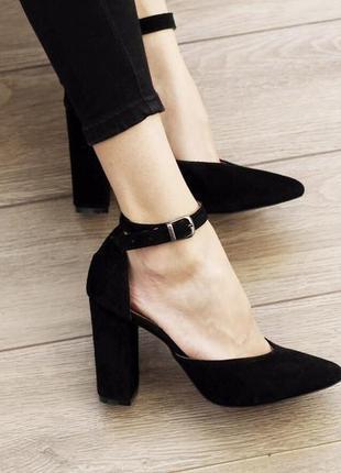 Замша. лаконичные туфли на устойчивом каблуке