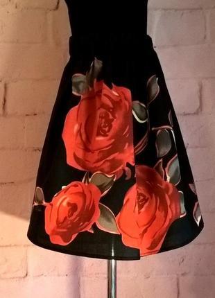 Юбка детская для девочек с принтом роза. 100% хлопок. рр 134-140