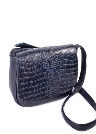 Синяя женская сумка на плечо кроссбоди крокодиловая с клапаном