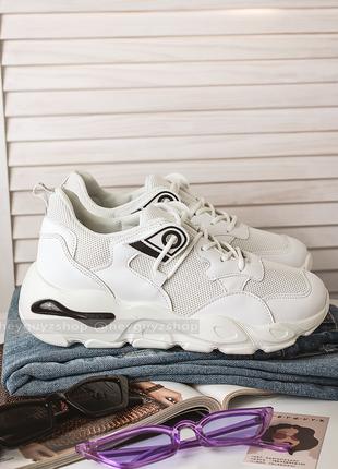 Трендовые кроссовки женские белые спортивные на высокой массивной подошве кросівки жіночі