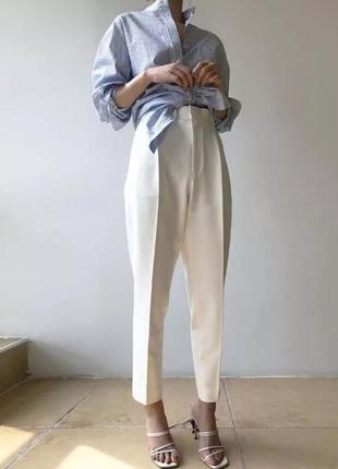 Штаны белые в стиле парижанки хлопковые со стрелками