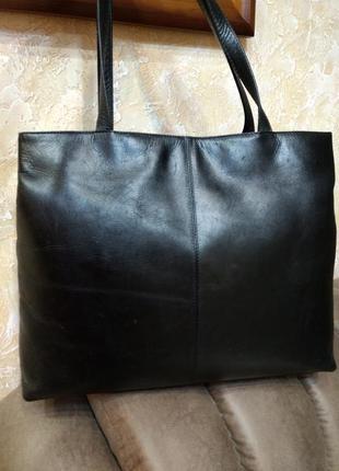 Большая кожаная сумка на плечо а4