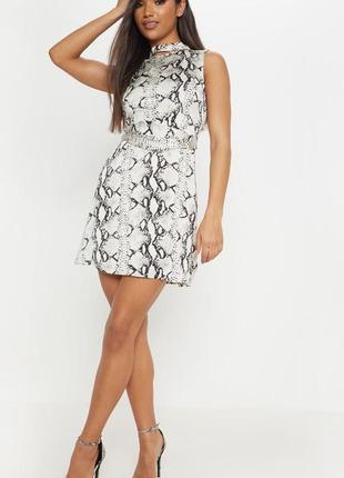 Платье с поясом под кожу змеи