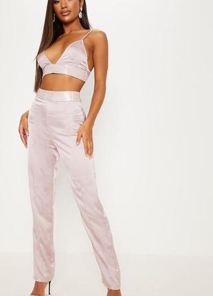 Нежные сатиновые брюки с поясом в стразы