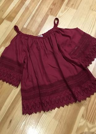 Блуза з відкритими плечима, бордова блуза з ажурними вставками