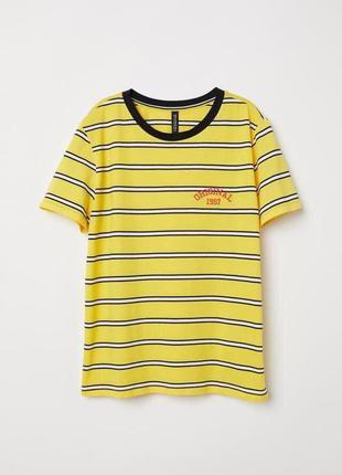 Желтая футболка блузка в полоску с принтом словами zara