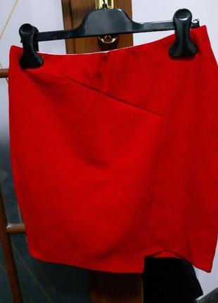Красная бандажная юбка oodji