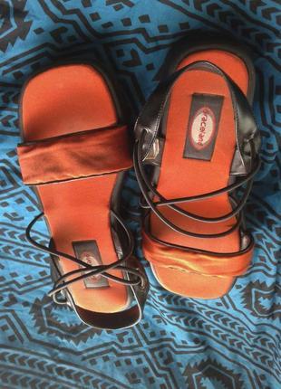 Оранжевые босоножки из плащевки, 40