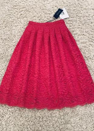Юбка миди розовая кружевная летняя guess marciano оригинал пышная pinko xs, s беби долл