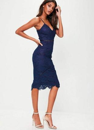 Кружевное платье синее от missguided