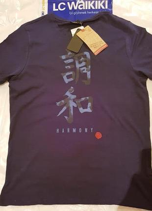 Синяя мужская футболка lc waikiki / лс вайкики с надписью harmony2 фото