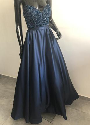 Sherri hill выпускное вечернее платье синее шери хилл оригинал