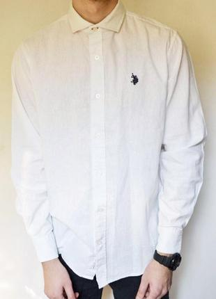 Біла базова рубашка легендарного бренду ralph lauren