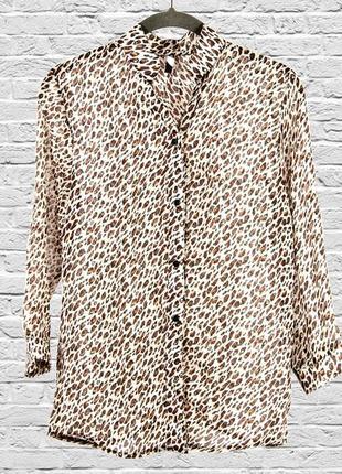 Леопардовая блуза шифоновая, свободная блуза с длинным рукавом, леопардовая рубашка