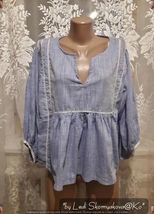 Новая фирменная zara красивая блуза из натуральной ткани, размер м-л
