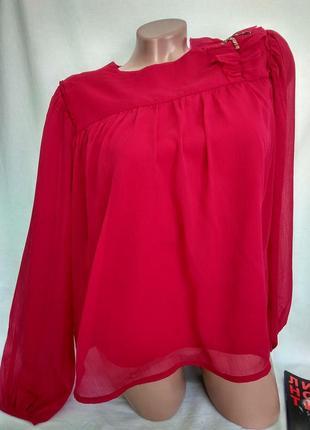 Шифоновая блуза на подкладке со стрекозой на плече р. s - нюанс, от mango