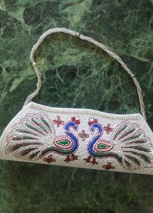 Шикарный вечерний клатч вышитый бисером сумка с бисером платье вишивка бісер
