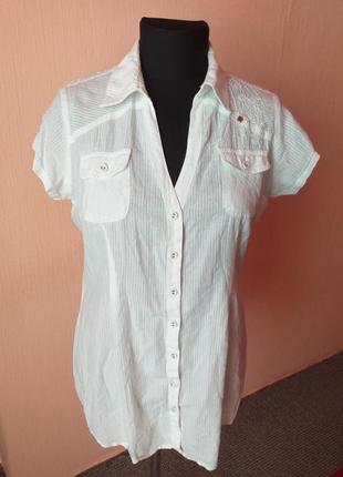Удлиненная натуральная блуза рубашка с вышивкой раз.16
