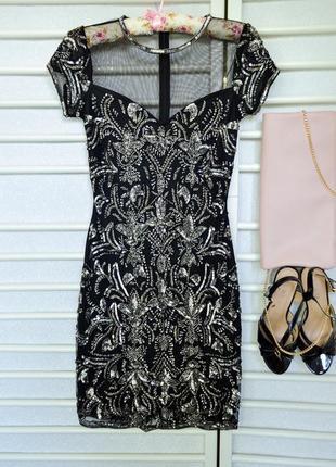Шикарное вечернее платье футляр с вышивкой бисером от miss selfridge petites
